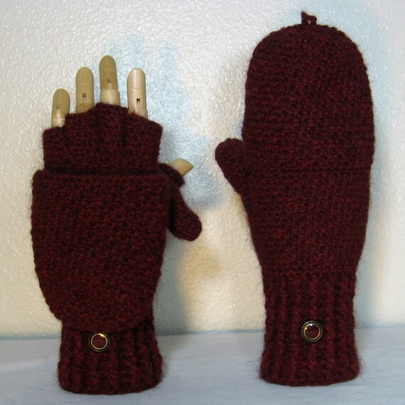 READY TO SHIP Wool- Alpaca Convertible Fingerless  Gloves  Mittens with Thumb Flaps in Opium,  Size  7