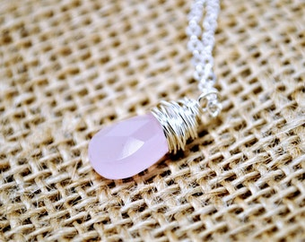 Rose Quartz Necklace, Faceted Briolette Light Pink Pendant, Petite, Layering Necklace, Modern, Minimalist Jewelry, Sterling Silver