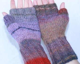 Hand-knit  Fingerless Mittens with Thumb, Joshua Tree, size small