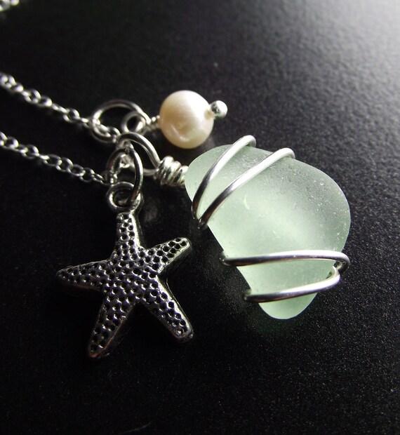 Sea Glass Jewelry - Aqua Sea Glass Cluster Necklace - BEACH BRIDE