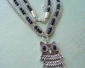 Antique Silver and Black Vintage Inspired Owl Necklace