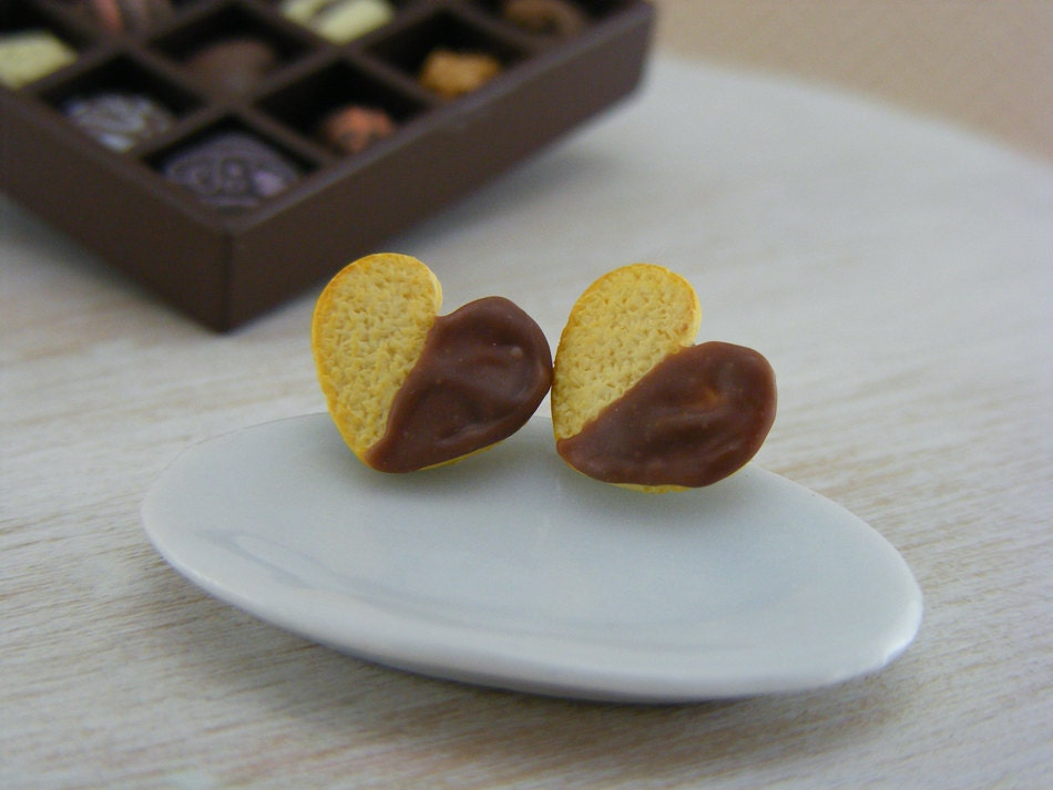 Chocolate-Dipped Heart Cookie - Studs / Post Earrings