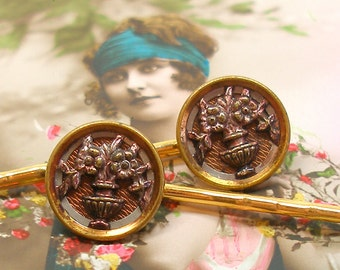 Antique BUTTON hair pins, Victorian FLOWERS on gold bobby pins, hair grips.
