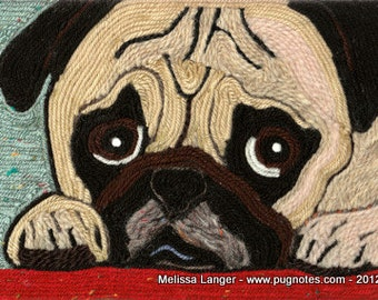 Pug Note Cards - Yarn Painting - Pug on Red Rug