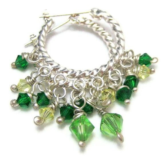 Silver Hoop Earrings Bright Green Crystal and Silver