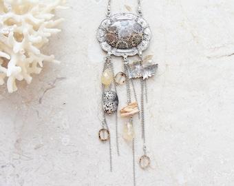 Fossilized Coral Necklace - Coral, Pearl, Jasper, Quartz, mother of pearl - Sea Treasure Collection