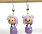 Cute Kawaii Clay Earrings, Pastel Purple Kokeshi Doll Earrings