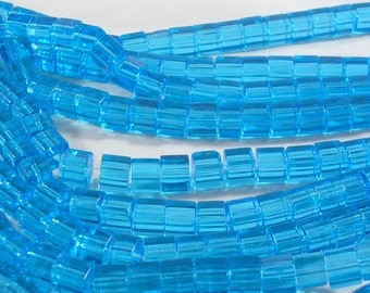 "Glass Cube Beads (GB120) SALE 6mm Sky Blue 14"" straand abour 55 beads for Jewelry and Crafts"