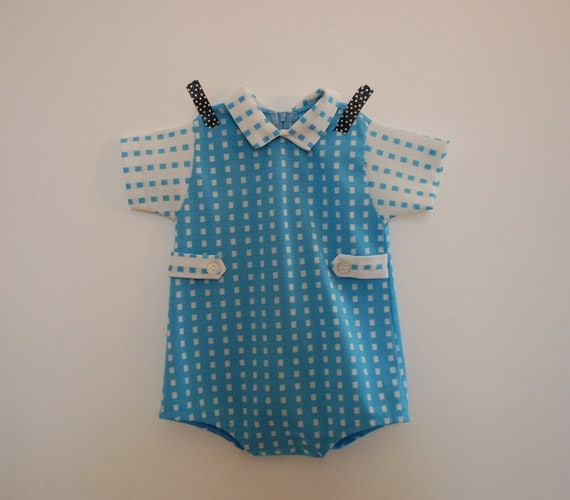 vintage baby boy short sleeve romper blue and white 6 months