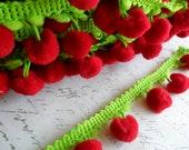 Vintage Style Dangling Pom Pom Trim Red Cherries