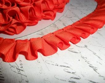 Orange Grosgrain Box Pleat  Ruffle 7/8 wide ribbon trim
