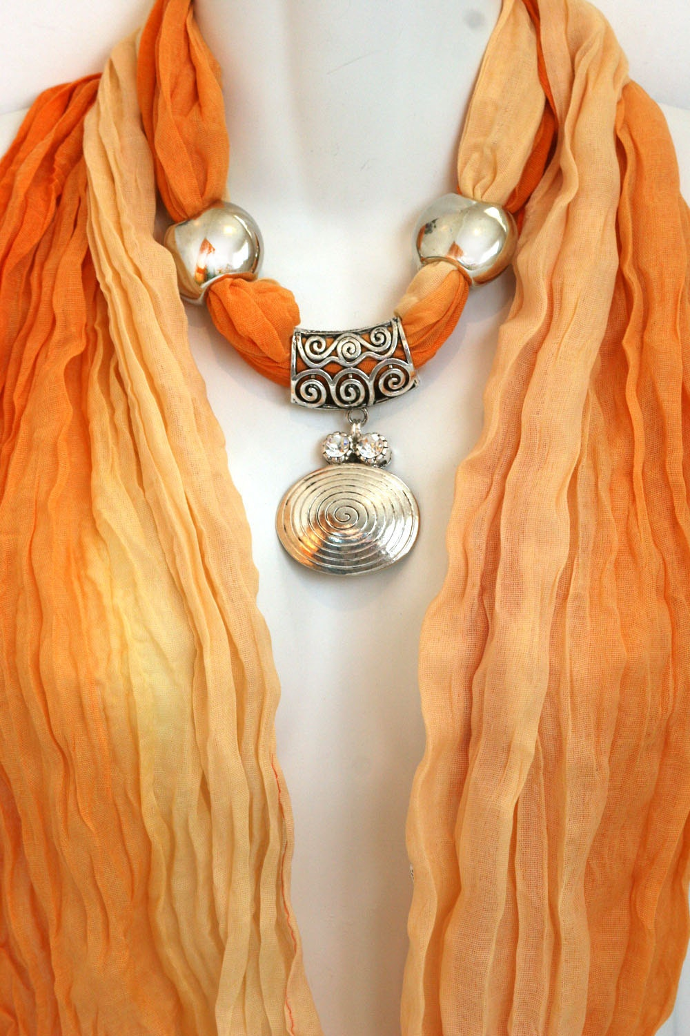 Orange Scarf With Jewelry Pendant Scarves Ombre Scarves Scarf Necklace Scarves With Jewelry On Them