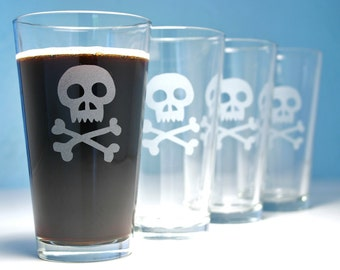 4 Skull and Bones Etched Pint Glasses - Pirate Jolly Roger
