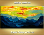 Original painting, Acrylic Painting, Landscape painting, Mountains Skyline Morning Rising Sun, Fine art by tim lam 48x24x1