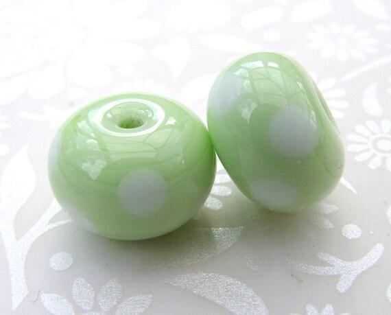 Cardamom Green Polka Pair  Lampwork Beads