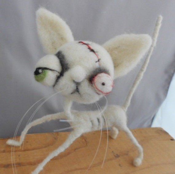 white Ghost  Cat  needle felted art doll