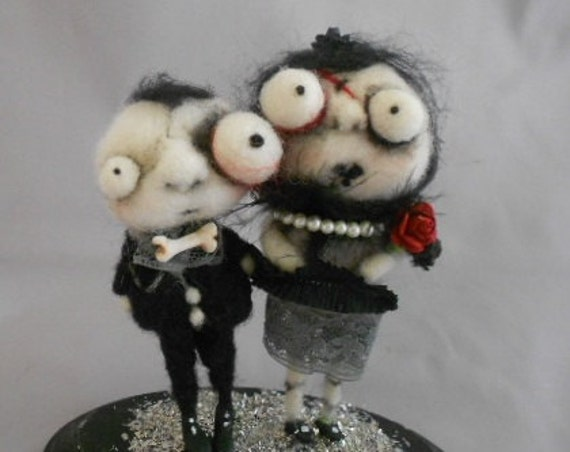 Zombie Wedding Couple Ooak needle felted art doll