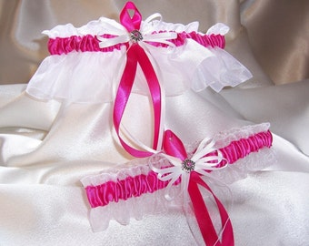 Elegant Hot Pink and White Wedding Garter Set