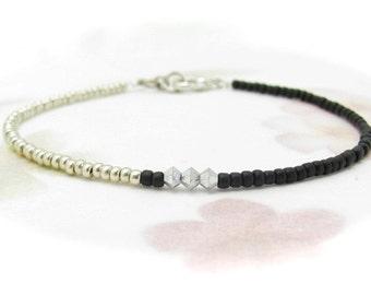 Friendship Bracelet, Black Bracelet, Crystal Bracelet, Black Silver Friendship Bracelet, Swarovski Crystal Minimal, Seed Bead Bracelet