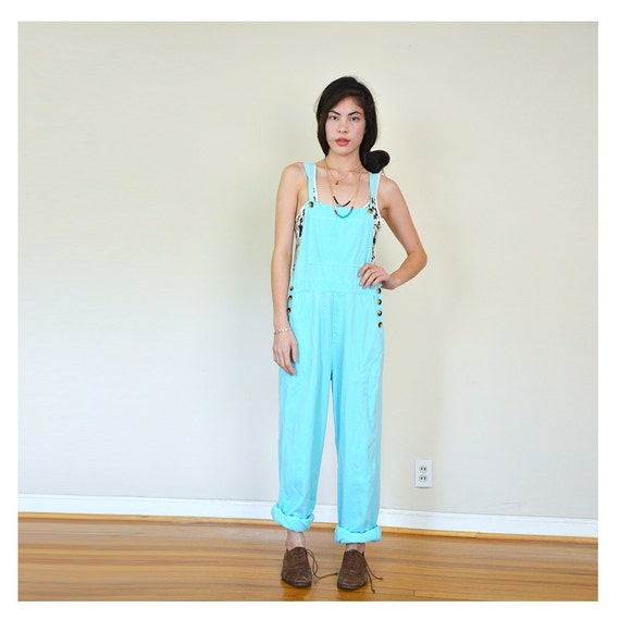 vintage SEAFOAM green cotton overalls s