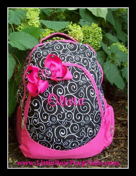 Personalized Swirls Monogrammed Backpack and Button Hair Bow