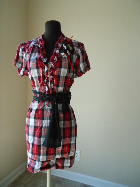 Rustic Plaid Tattered Apple Picking Dress Check Cotton Puffed Sleeve Ruffles Shabby Chic Fall Fashion Back to School Autumn