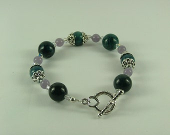 Chrysocolla and Lepidolite Bracelet-B12