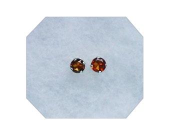 5mm Madiera Citrine Gemstones in 925 Sterling Silver Stud Earrings
