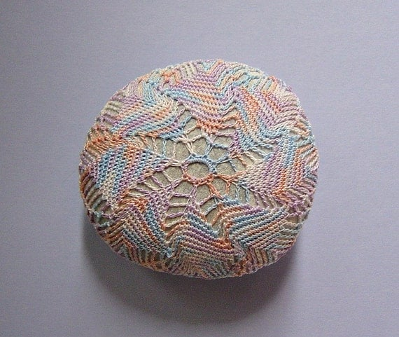 Crocheted Lace Stone, made with Tiny Thread, Handmade by Monicaj with Cotton Candy Colored Thread