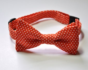 Orange Pin Dot Boys Bowtie