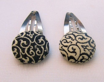 Covered Button Hair Barrettes, Black and white Damask Print Snap barrette