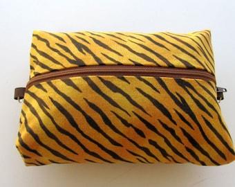 Make-up bag, cosmetic bag, clutch, Tiger print make-up bag