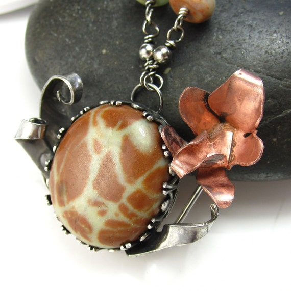 Dino Egg   - Jasper, Sterling silver and Copper Orchid Necklace