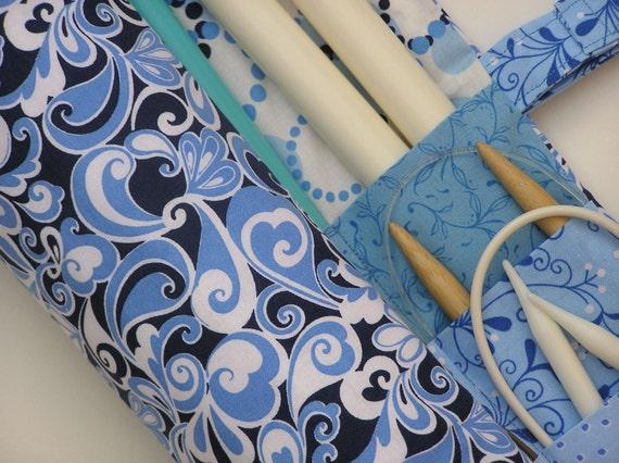 large knitting needle case - knitting needle organizer -  floral in shades of blue - 36 pockets