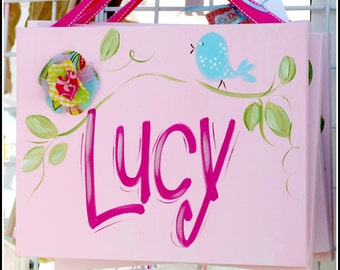 Custom Wall Art Personalized Name Canvas with Bird and Fabric Flower
