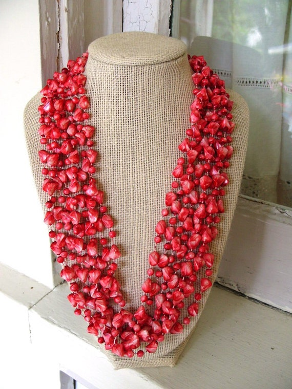 FREE SHIPPING Vintage Beaded Multi Strand Necklace