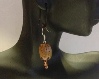 Whole Nut Bead Earrings