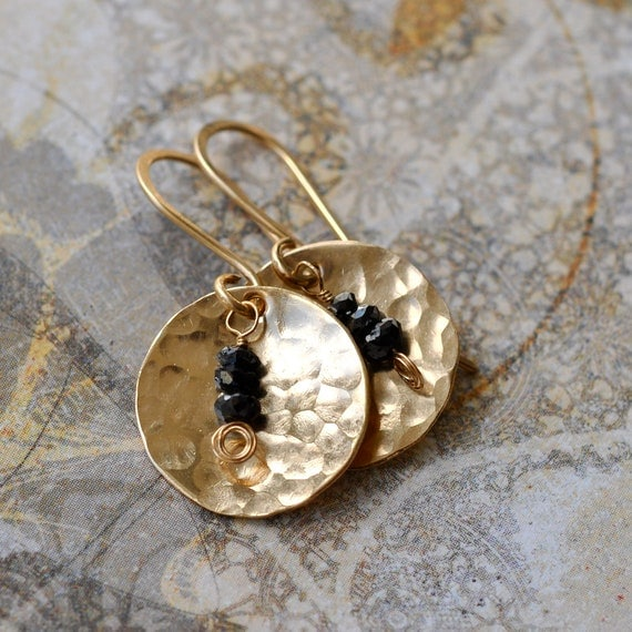 Black Diamond Gold Disc Earrings genuine Diamond dangle by MKaae