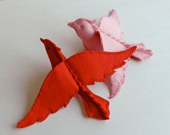 Felt Patttern - PDF Instruction - The Love Birds - a perfect handmade gift for a baby, child or someone special. INSTANT DOWNLOAD