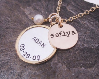 Mixed metal hand stamped necklace