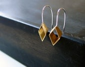 on the diagonal / handmade brass and sterling silver earrings