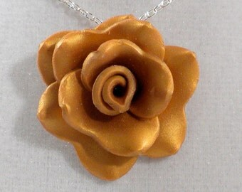 Golden Rose Necklace - Gold Colored Clay Rose Pendant - Polymer Clay Rose Pendant - Ready to Ship #26