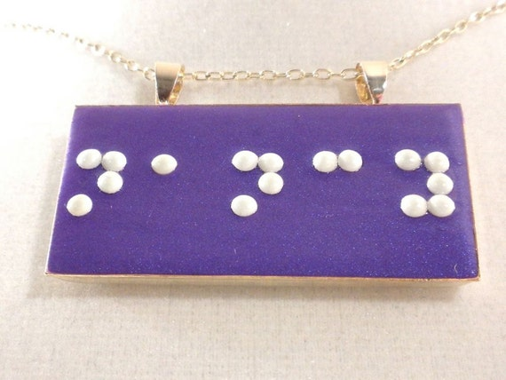 Braille Necklace Personalized with Your Name - Name Pendant - Personalized Necklace - Your Choice of Color - MADE to ORDER - Handmade