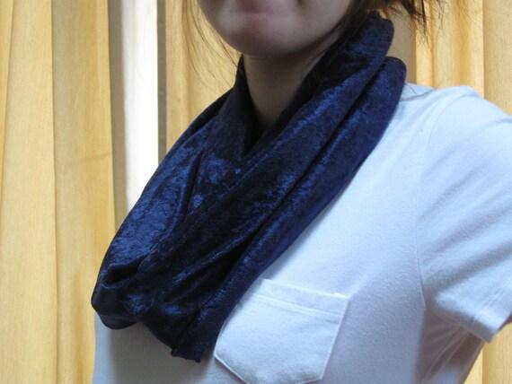 Navy Blue Panne Knit Infinity Scarf