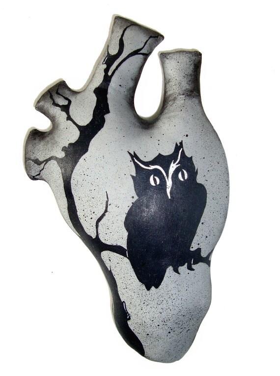 Primitive Handmade Gothic Owl Human Heart Art Pillow