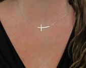 Cross Necklace, Curved Sideways Cross 14K Gold Filled, Sterling Silver, Rose Gold Filled, Or 14K Gold
