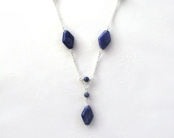 SALE: Sodalite Necklace / Diamond Shape Navy Blue Necklace / Sterling Silver Chain