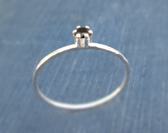 Tiny Black Spinel Ring / Sterling Silver Slim Stacking Ring / Prong Set Gemstone Ring / Size 7 Ready to Ship