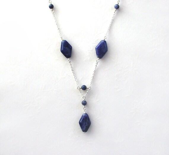 Sodalite Necklace / Diamond Shape Navy Blue Necklace / Sterling Silver Chain