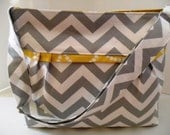 Chevron Diaper Bag  Made of Gray with Yellow - Adjustable Strap / Elastic Pockets